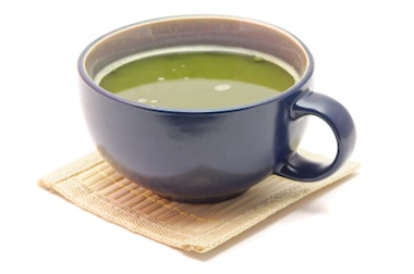 A delicious cup of hot green tea from matcha powder.